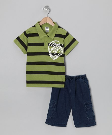 Lime Turtle Polo & Jean Shorts - Infant, Toddler & Boys