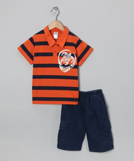 Orange Turtle Polo &amp; Jean Shorts - Infant, Toddler &amp; Boys