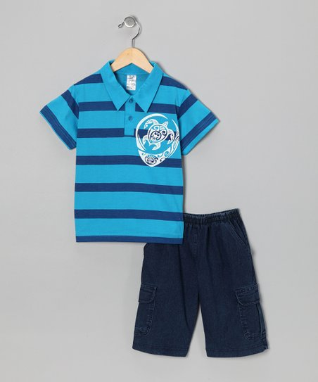 Turquoise Turtle Polo & Jean Shorts - Infant, Toddler & Boys
