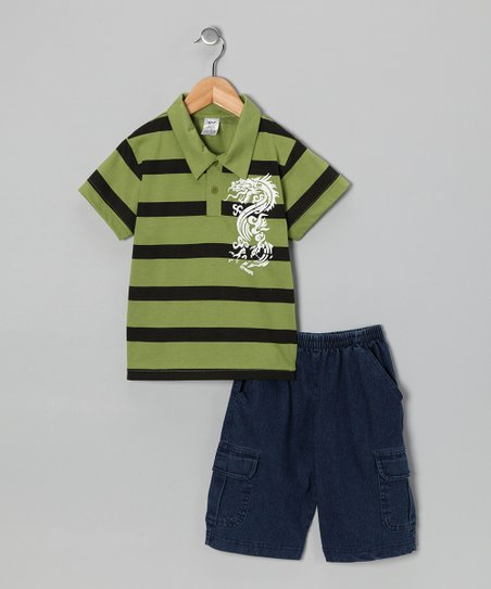 Lime Dragon Polo &amp; Jean Shorts - Infant, Toddler &amp; Boys