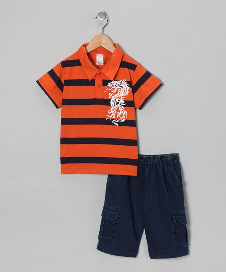Orange Dragon Polo & Jean Shorts - Infant, Toddler & Boys