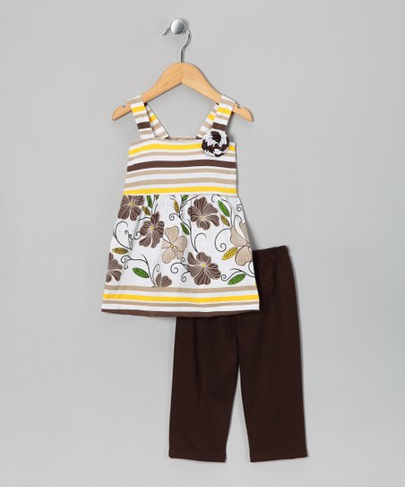 White & Brown Tank & Capri Pants - Infant