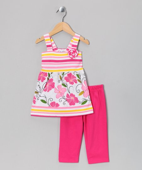 White & Fuchsia Tank & Capri Pants - Toddler