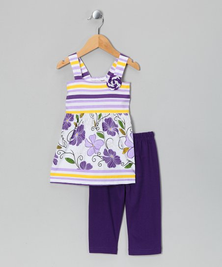 White & Purple Tank & Capri Pants - Infant, Toddler & Girls