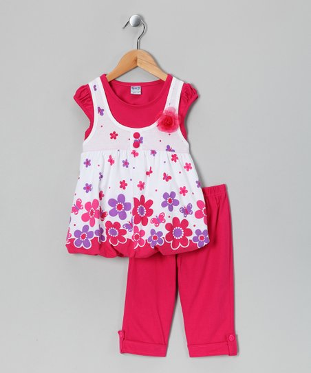 Fuchsia Layered Top &amp; Capri Pants - Infant, Toddler &amp; Girls