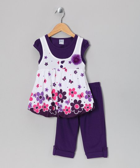 Purple Layered Top & Capri Pants - Infant, Toddler & Girls
