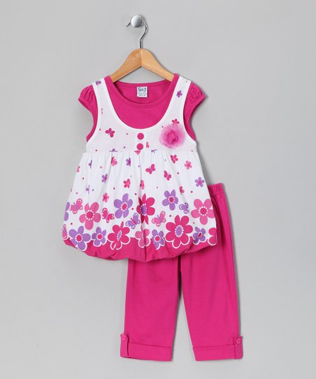 Raspberry Layered Top & Capri Pants - Infant & Girls