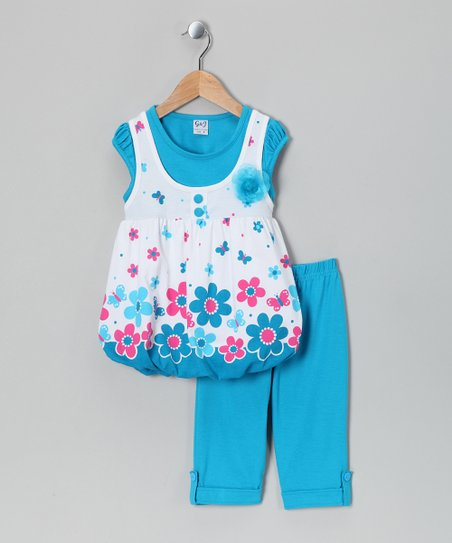 Turquoise Layered Top & Capri Pants - Infant