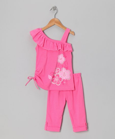 Pink Floral Asymmetrical Tunic & Leggings - Toddler & Girls