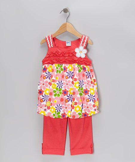 Coral Floral Tunic & Capri Pants - Infant, Toddler & Girls