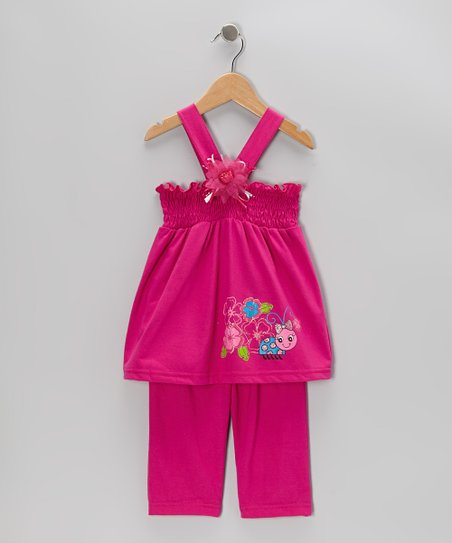 Fuchsia Shirred Tank & Capri Pants - Toddler & Girls