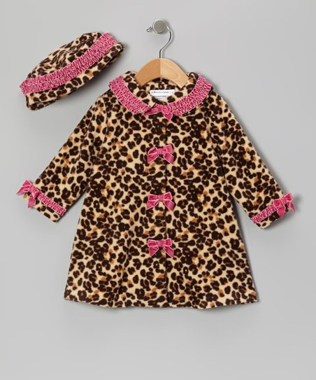 Pink Leopard Fleece Swing Coat & Beanie - Infant, Toddler & Girls