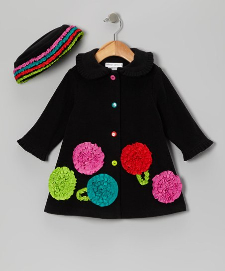 Black Ruffle Flower Swing Coat & Beanie - Infant, Toddler & Girls