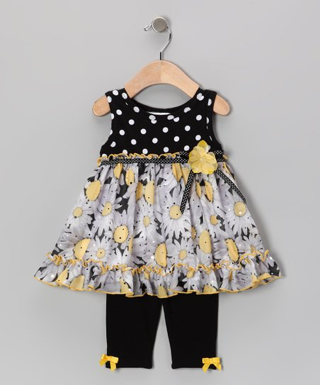 Black & White Flower Polka Dot Dress & Leggings - Infant