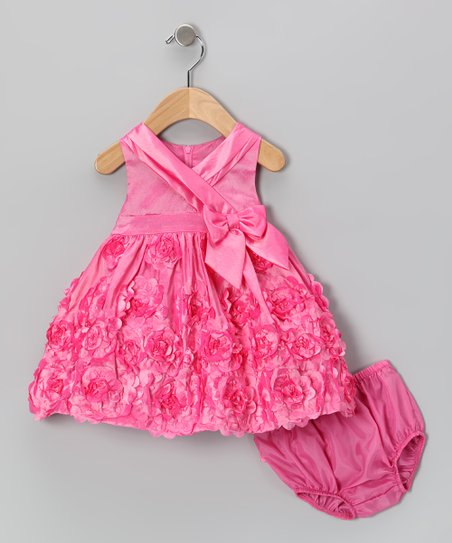 Pink Rosette Dress & Diaper Cover - Infant