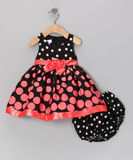 Coral Polka Dot Dress & Diaper Cover - Infant