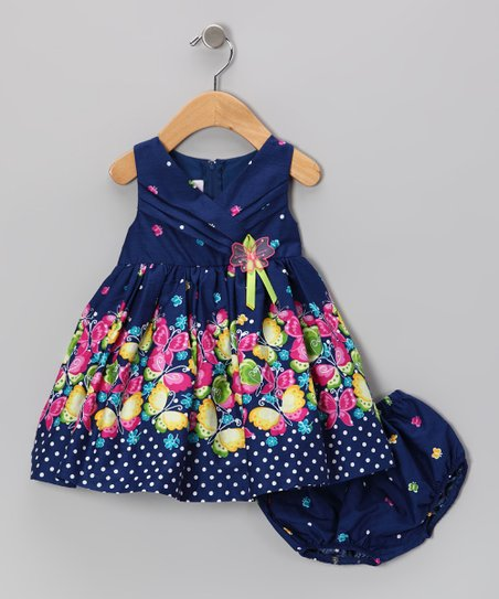 Navy Butterfly Surplice Dress & Diaper Cover - Infant