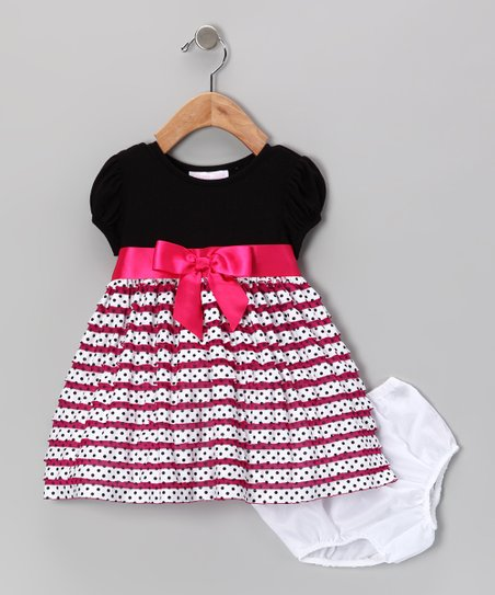 Fuchsia Ruffle Skirt Dress & Diaper Cover - Infant