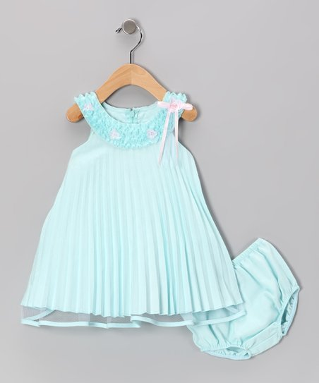 Aqua Pleated Dress & Diaper Cover - Infant