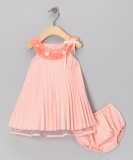 Peach Pleated Dress &amp; Diaper Cover - Infant