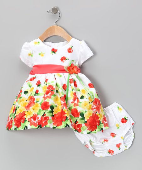 Orange Floral Dress & Diaper Cover - Infant