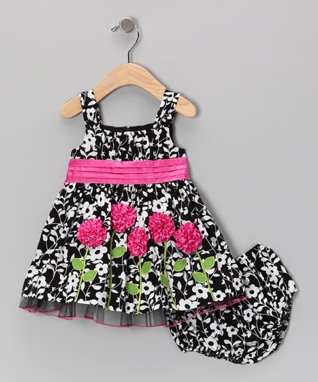 Black Rose A-Line Dress & Diaper Cover - Infant