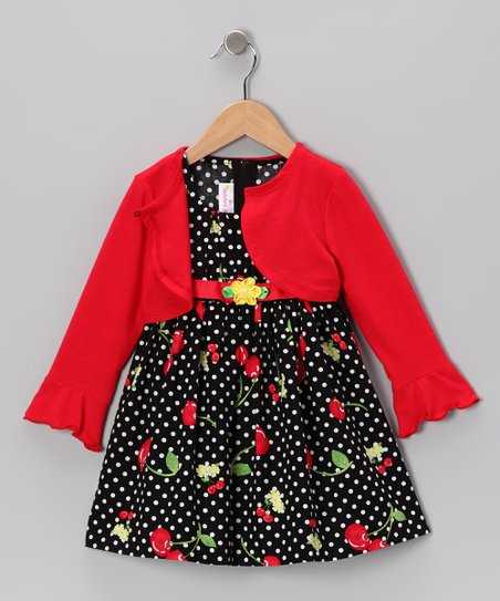 Red Cherry Dress & Cardigan - Toddler