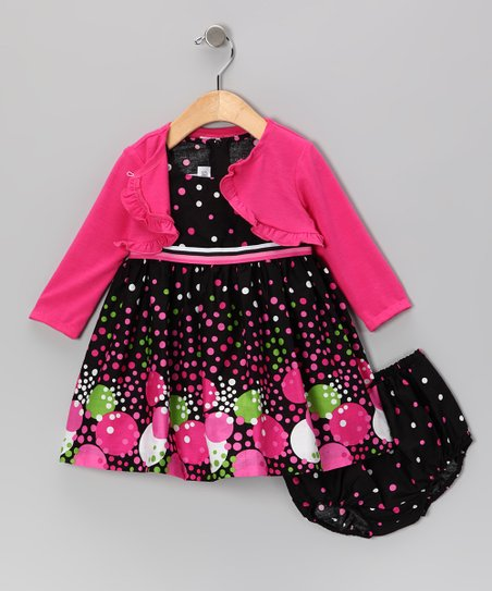 Fuchsia Bubble Dot Dress Set - Infant