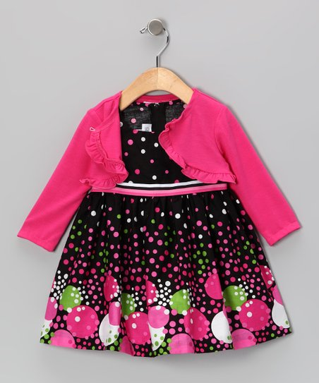Fuchsia Bubble Dot Dress &amp; Cardigan - Toddler