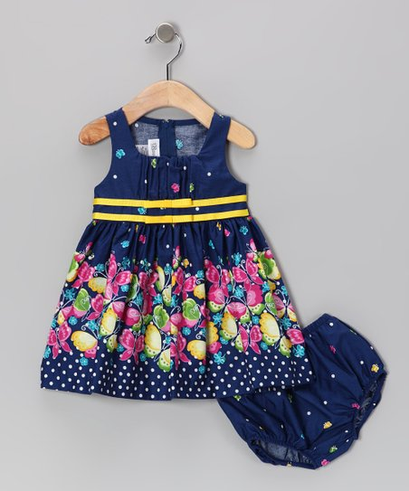 Navy Butterfly Dress & Diaper Cover - Infant