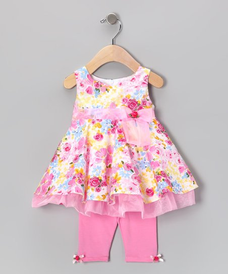 Pink Floral Dress & Leggings - Infant