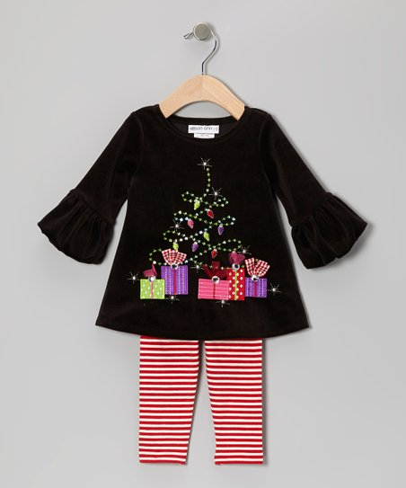 Black Presents Velour Dress & Leggings - Infant