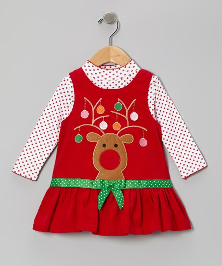 Red Reindeer Corduroy Bodysuit & Jumper - Girls