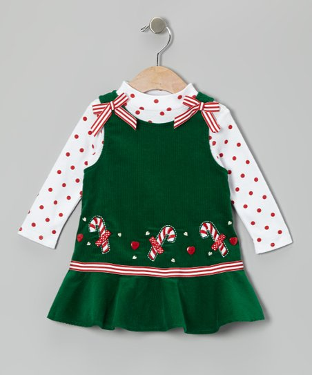 Green Candy Cane Corduroy Jumper & Top - Girls
