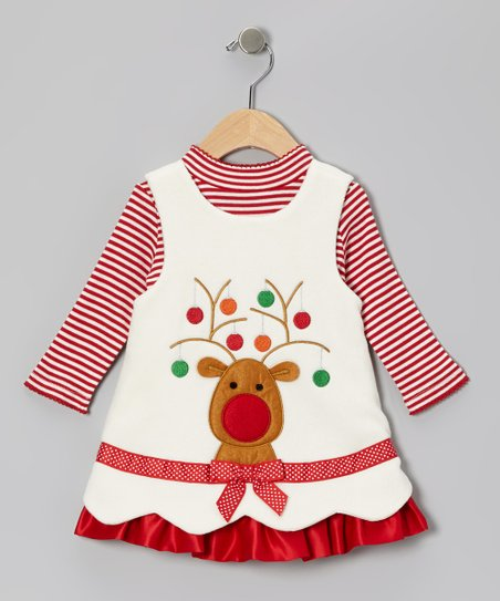 Ivory Reindeer Fleece Jumper & Top - Girls