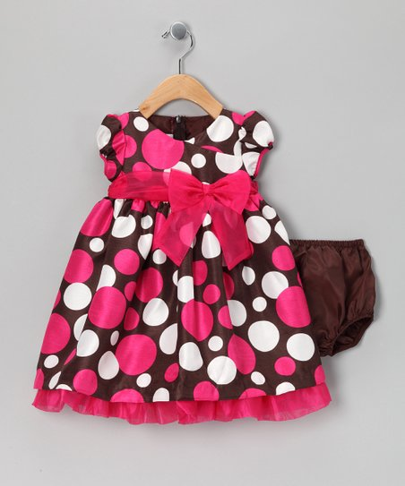 Fuchsia & Brown Bow Dress & Bloomers - Infant