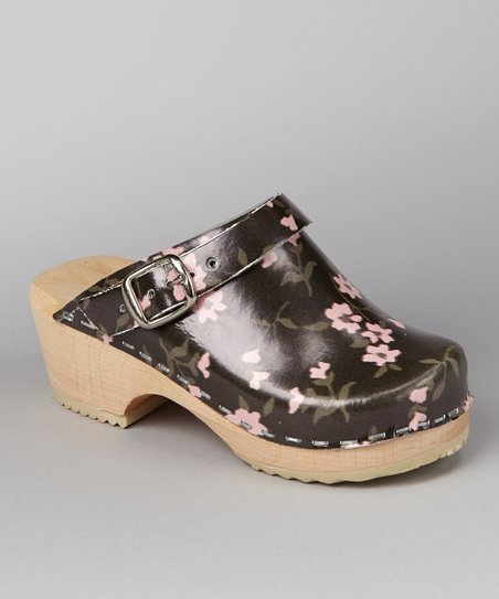 Black & Pink Cherry Blossom Clog - Kids