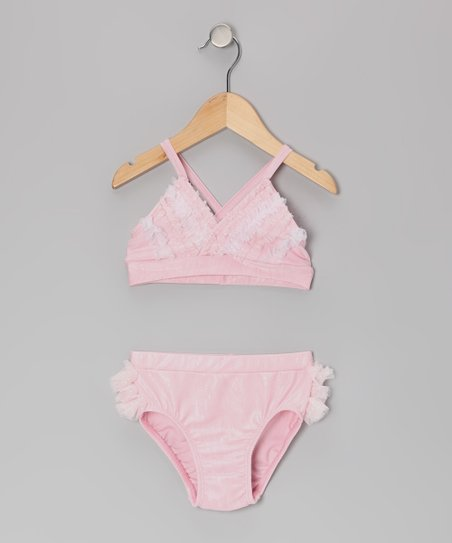 Pink & White Sparkle Lace Bikini - Infant, Toddler & Girls