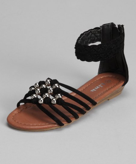 Black Braided Chieko Ankle-Strap Sandal