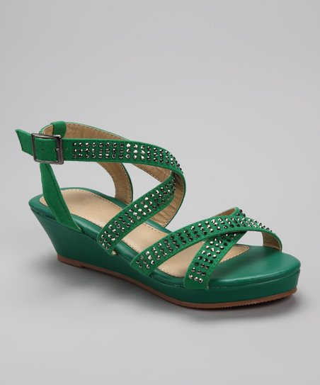 Green Crisscross Junita Sandal