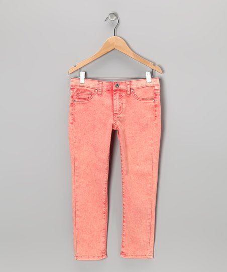 Coral Acid Wash Skinny Jeans - Girls