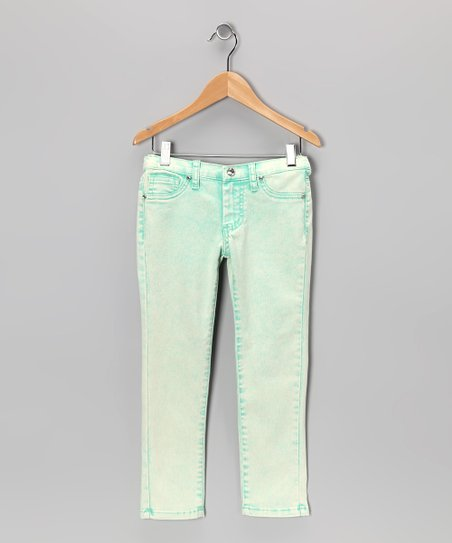 Green Acid Wash Skinny Jeans - Girls