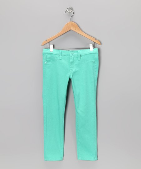 Mint Glitter Wash Skinny Jeans - Girls