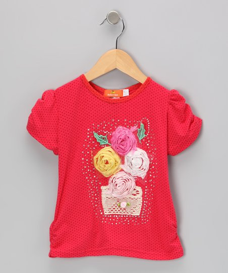 Red Flower Basket Top - Toddler & Girls