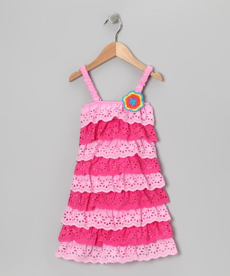 Pink Lace Tiered Ruffle Dress - Toddler
