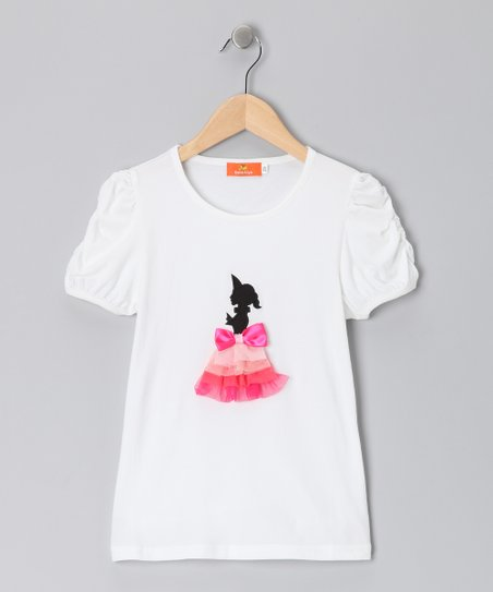 White & Pink Silhouette Top - Girls