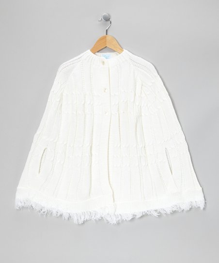 Julius Berger White Fringe Cable Knit Cape - Girls