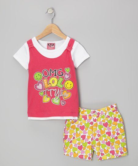 Pink Layered Top & Yellow Heart Shorts - Infant & Toddler