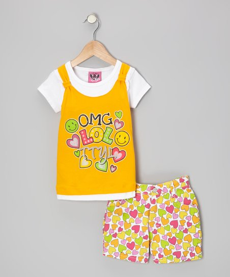 Yellow Layered Top & Heart Shorts - Infant & Toddler