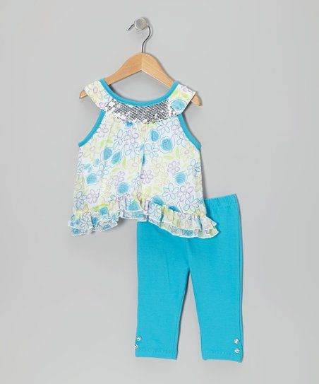 Blue Floral Yoke Tunic & Pants - Infant, Toddler & Girls